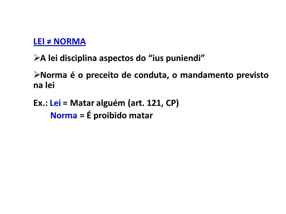 LEI ≠ NORMA A lei disciplina aspectos do ius puniendi Norma é o preceito de conduta, o mandamento previsto na lei.