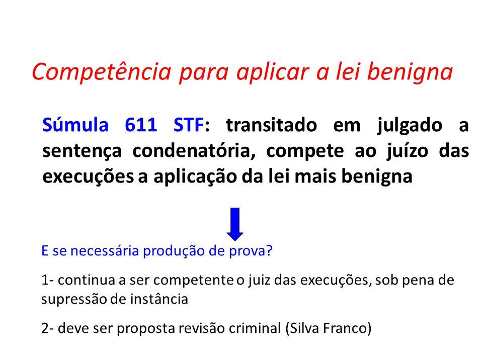 Competência para aplicar a lei benigna