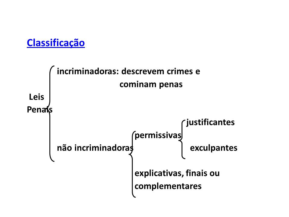 Classificação incriminadoras: descrevem crimes e cominam penas Leis