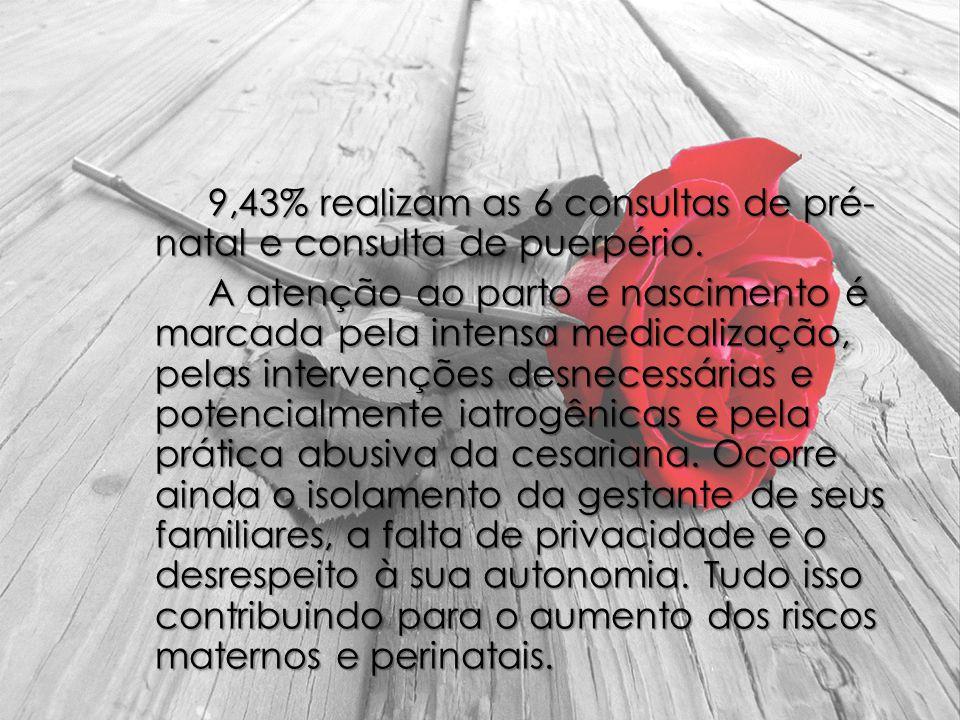 9,43% realizam as 6 consultas de pré- natal e consulta de puerpério
