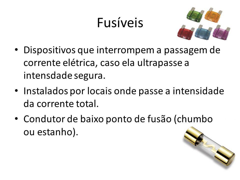 Fusíveis Dispositivos que interrompem a passagem de corrente elétrica, caso ela ultrapasse a intensdade segura.