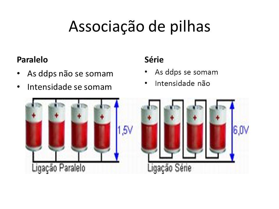 Associação de pilhas Paralelo Série As ddps não se somam