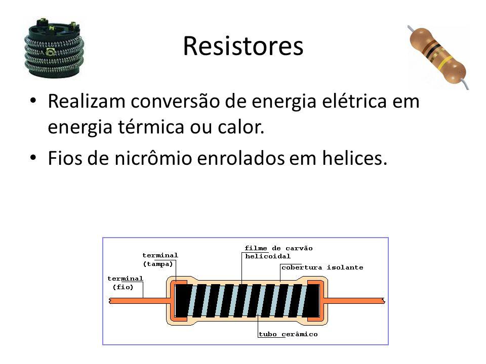 Resistores Realizam conversão de energia elétrica em energia térmica ou calor.