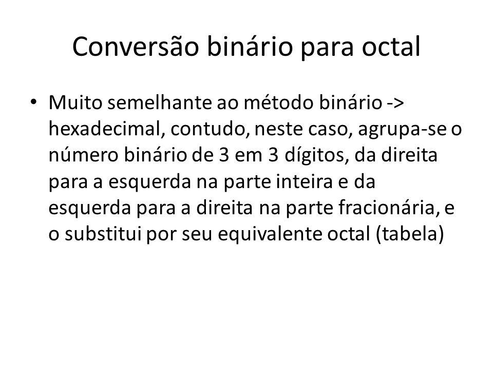 Conversão binário para octal