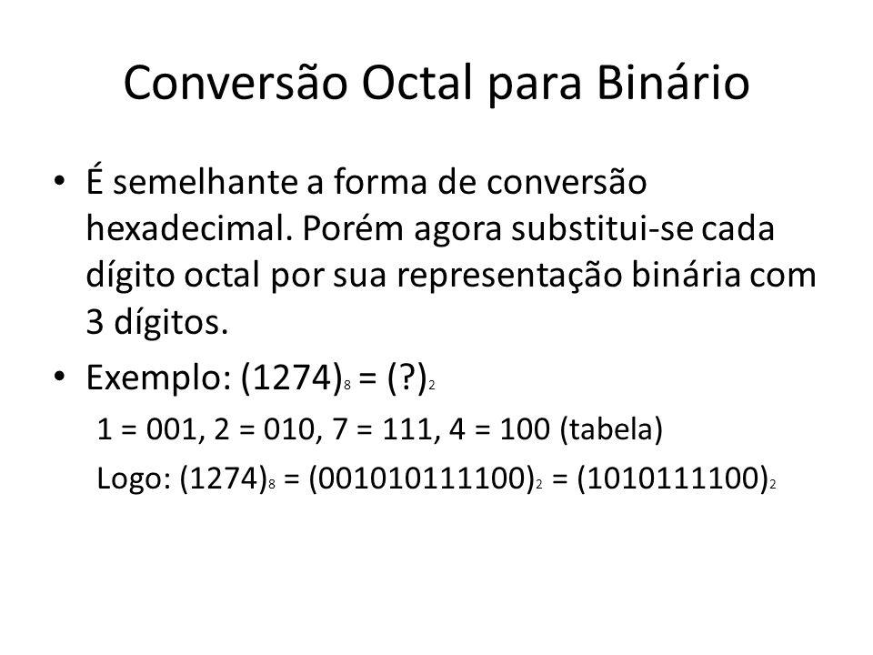 Conversão Octal para Binário