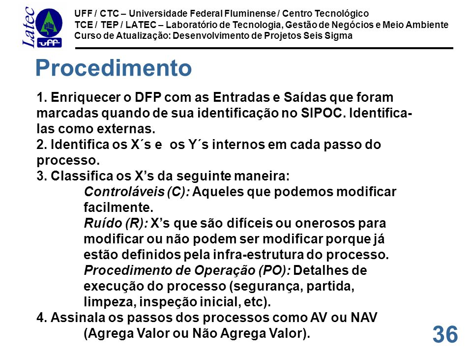 Procedimento 1. Enriquecer o DFP com as Entradas e Saídas que foram marcadas quando de sua identificação no SIPOC. Identifica-las como externas.