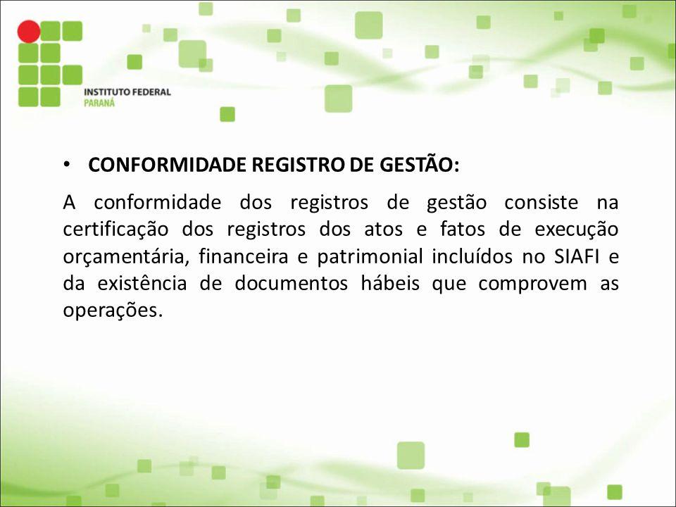 CONFORMIDADE REGISTRO DE GESTÃO: