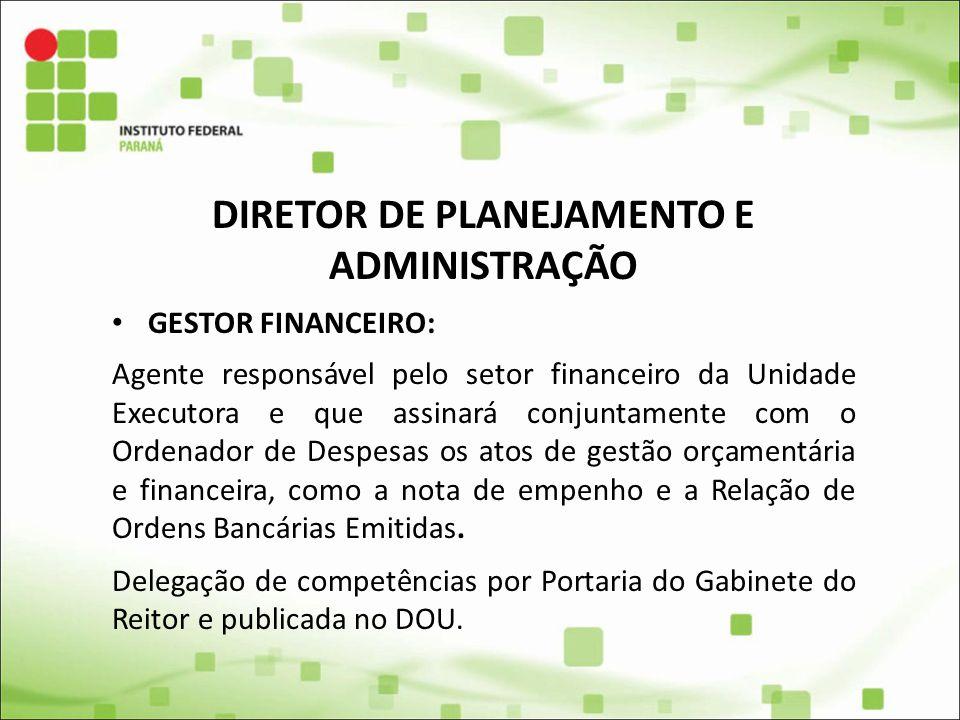 DIRETOR DE PLANEJAMENTO E ADMINISTRAÇÃO