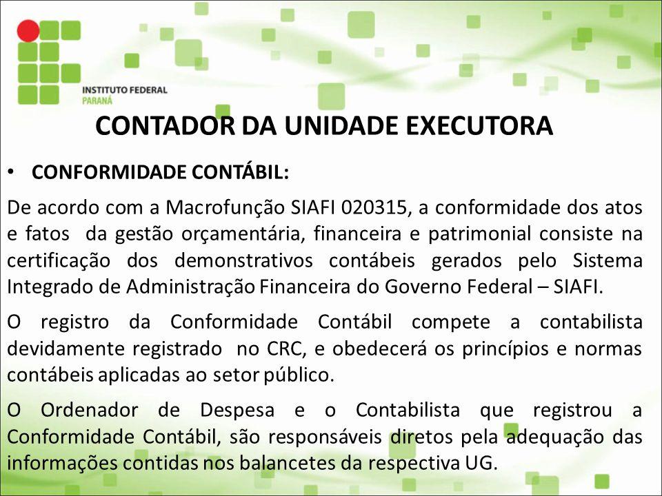 CONTADOR DA UNIDADE EXECUTORA