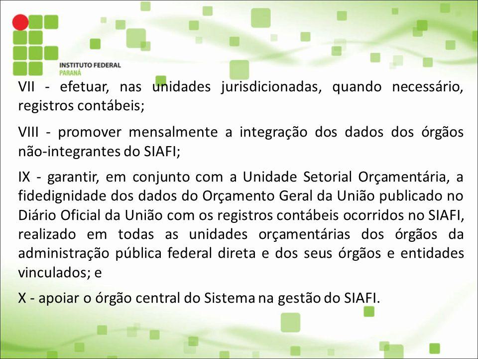 X - apoiar o órgão central do Sistema na gestão do SIAFI.