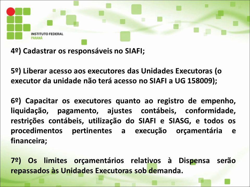 4º) Cadastrar os responsáveis no SIAFI;
