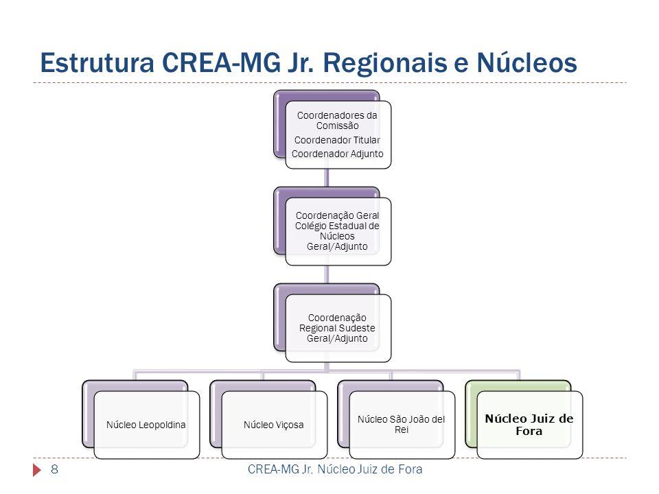 Estrutura CREA-MG Jr. Regionais e Núcleos