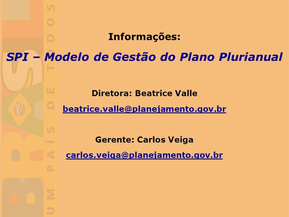 SPI – Modelo de Gestão do Plano Plurianual Diretora: Beatrice Valle