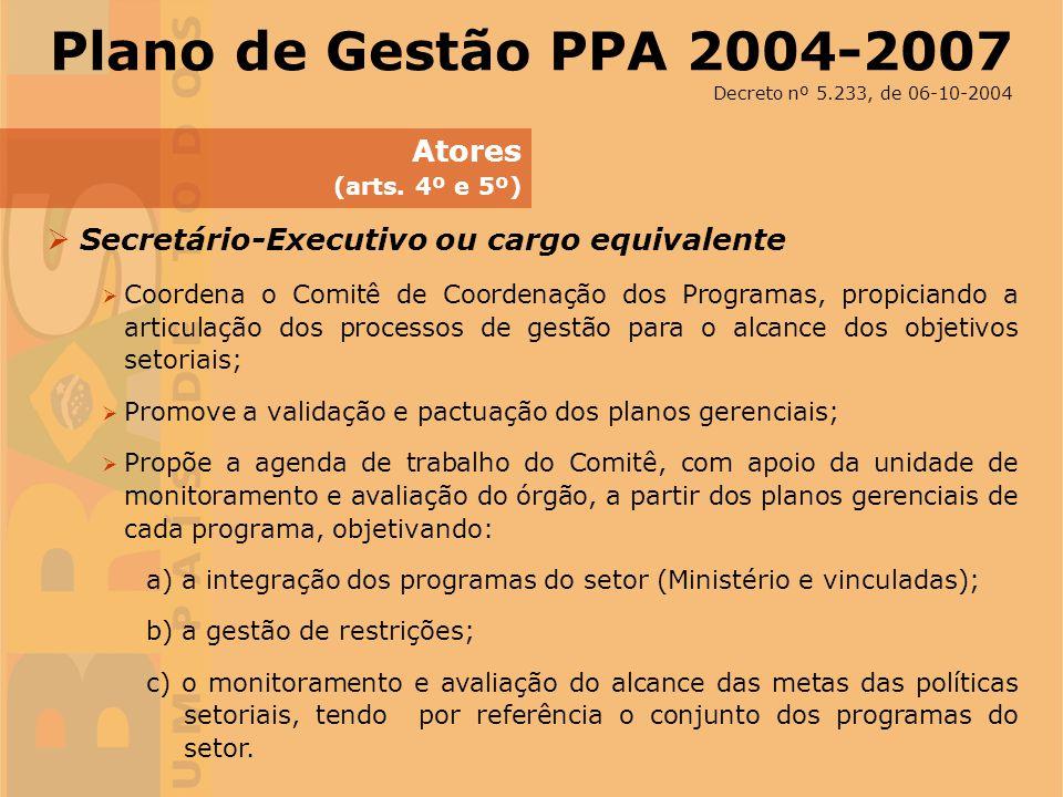 Plano de Gestão PPA 2004-2007 Atores