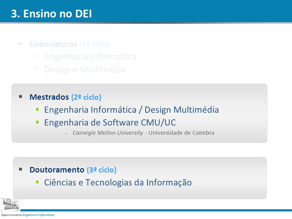 3. Ensino no DEI Engenharia Informática Design e Multimédia