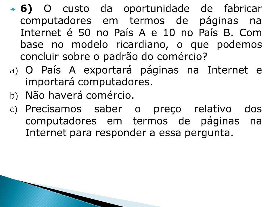 6) O custo da oportunidade de fabricar computadores em termos de páginas na Internet é 50 no País A e 10 no País B. Com base no modelo ricardiano, o que podemos concluir sobre o padrão do comércio