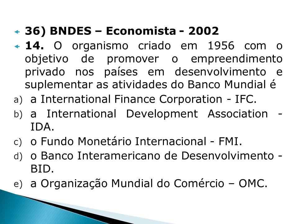 36) BNDES – Economista - 2002