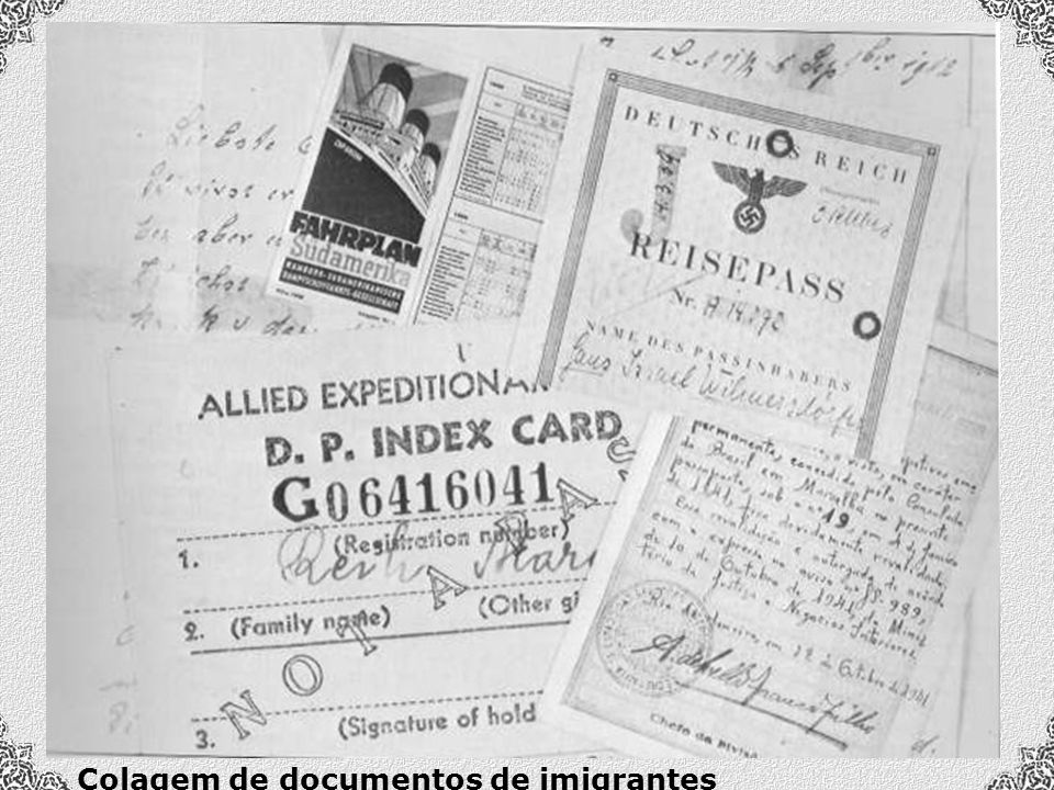 Colagem de documentos de imigrantes