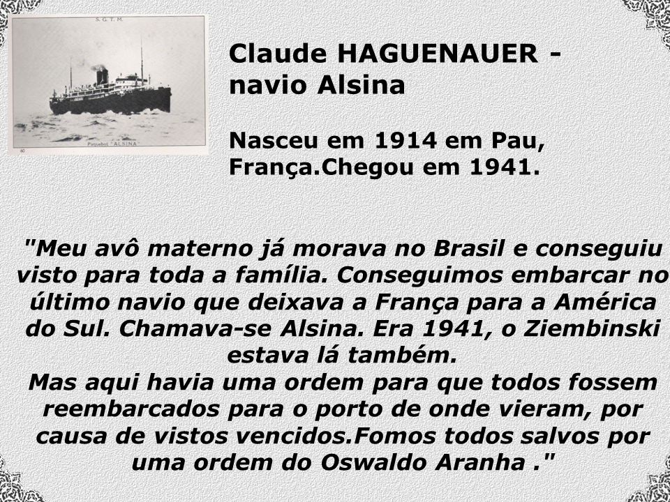Claude HAGUENAUER - navio Alsina