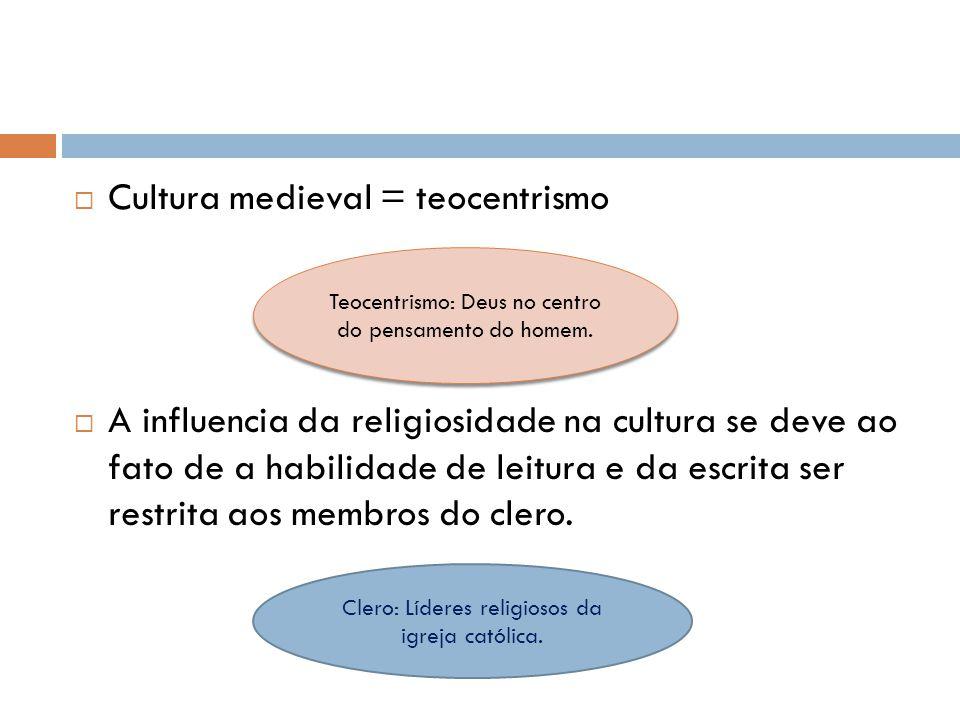 Cultura medieval = teocentrismo