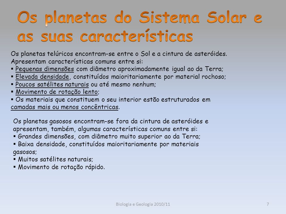 Os planetas do Sistema Solar e as suas características