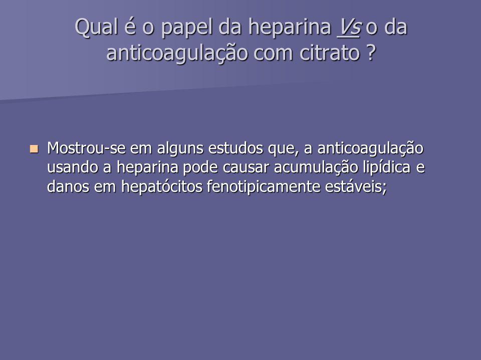Qual é o papel da heparina Vs o da anticoagulação com citrato