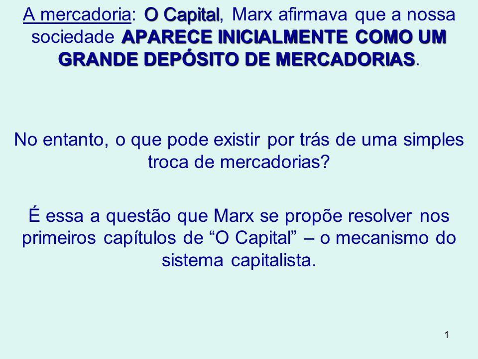 A mercadoria: O Capital, Marx afirmava que a nossa sociedade APARECE INICIALMENTE COMO UM GRANDE DEPÓSITO DE MERCADORIAS.