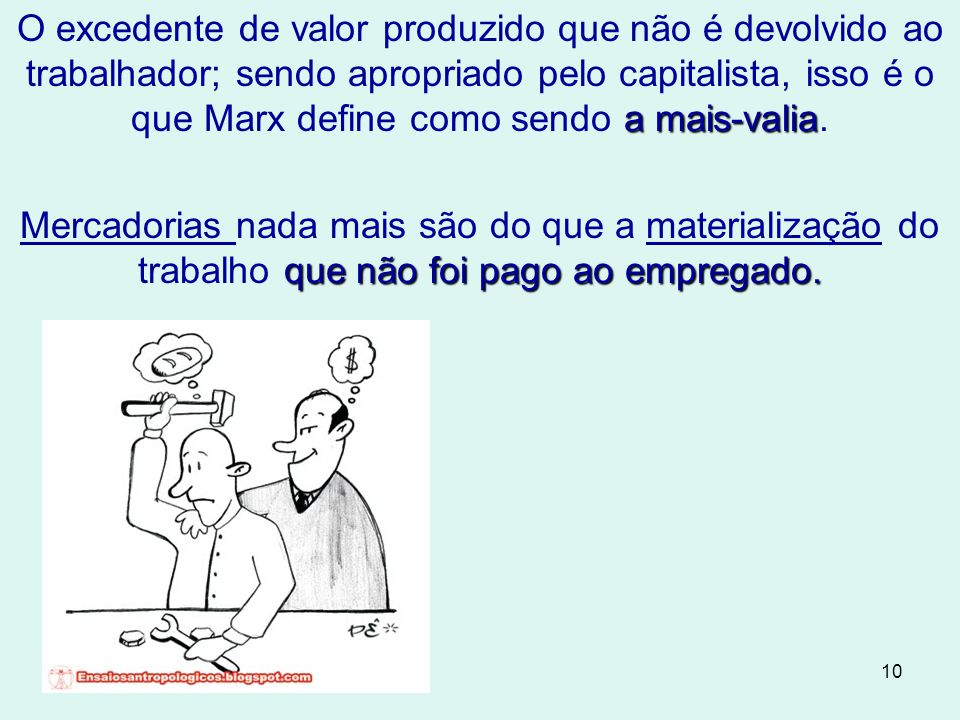 O excedente de valor produzido que não é devolvido ao trabalhador; sendo apropriado pelo capitalista, isso é o que Marx define como sendo a mais-valia.