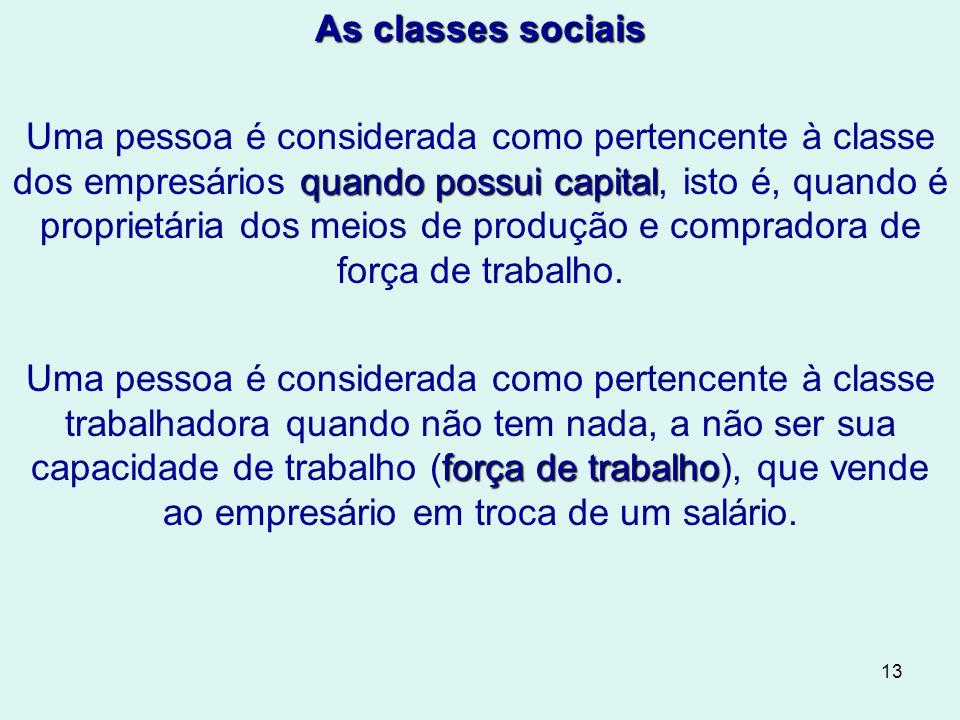 As classes sociais