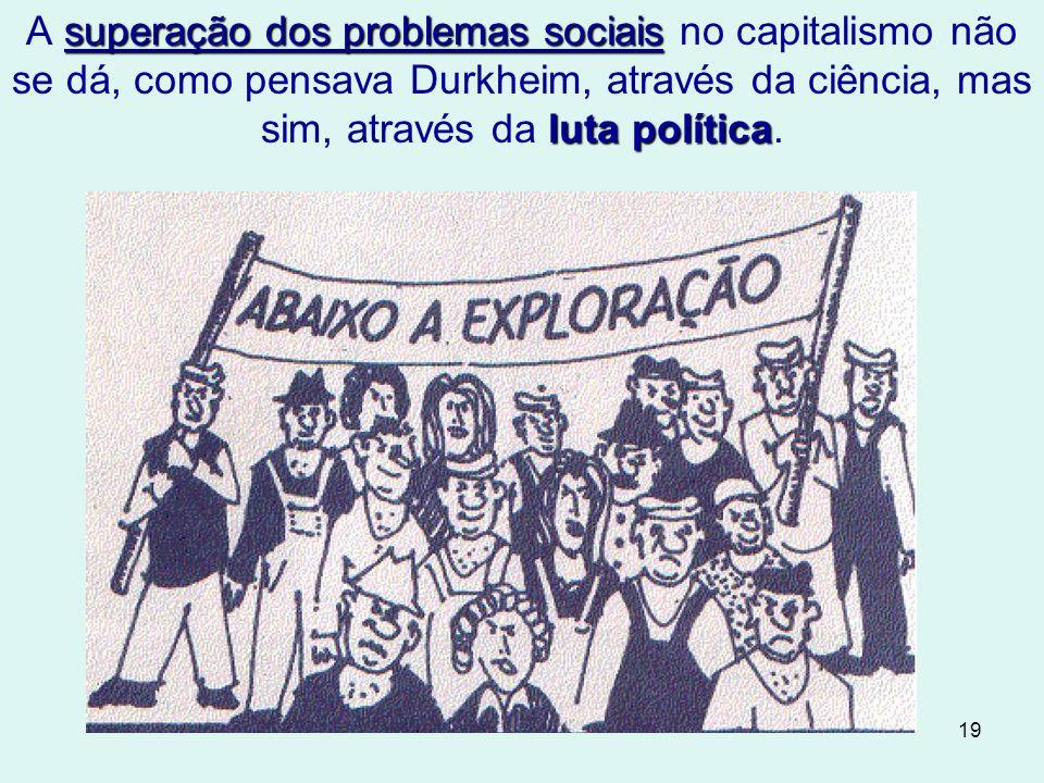 A superação dos problemas sociais no capitalismo não se dá, como pensava Durkheim, através da ciência, mas sim, através da luta política.
