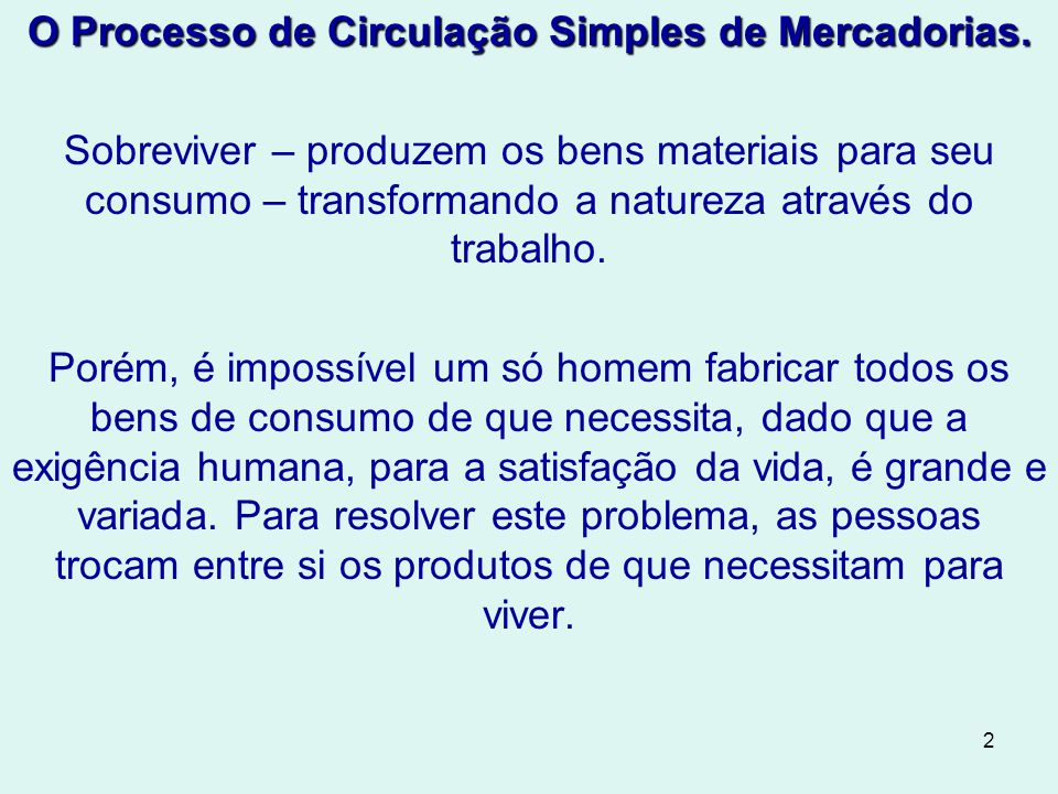 O Processo de Circulação Simples de Mercadorias.