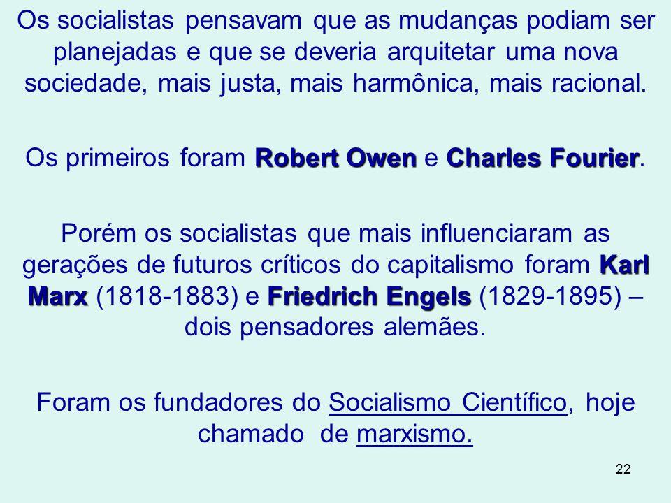 Os primeiros foram Robert Owen e Charles Fourier.