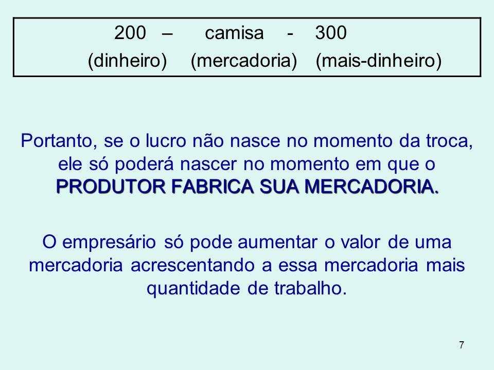 Portanto, se o lucro não nasce no momento da troca, ele só poderá nascer no momento em que o PRODUTOR FABRICA SUA MERCADORIA.