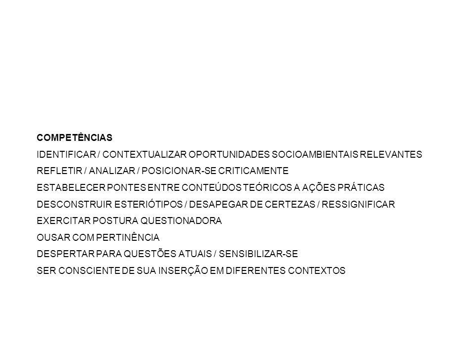 COMPETÊNCIAS IDENTIFICAR / CONTEXTUALIZAR OPORTUNIDADES SOCIOAMBIENTAIS RELEVANTES REFLETIR / ANALIZAR / POSICIONAR-SE CRITICAMENTE ESTABELECER PONTES ENTRE CONTEÚDOS TEÓRICOS A AÇÕES PRÁTICAS DESCONSTRUIR ESTERIÓTIPOS / DESAPEGAR DE CERTEZAS / RESSIGNIFICAR EXERCITAR POSTURA QUESTIONADORA OUSAR COM PERTINÊNCIA DESPERTAR PARA QUESTÕES ATUAIS / SENSIBILIZAR-SE SER CONSCIENTE DE SUA INSERÇÃO EM DIFERENTES CONTEXTOS