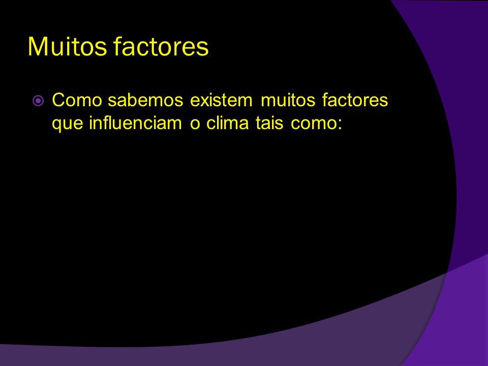 Muitos factores Como sabemos existem muitos factores que influenciam o clima tais como: