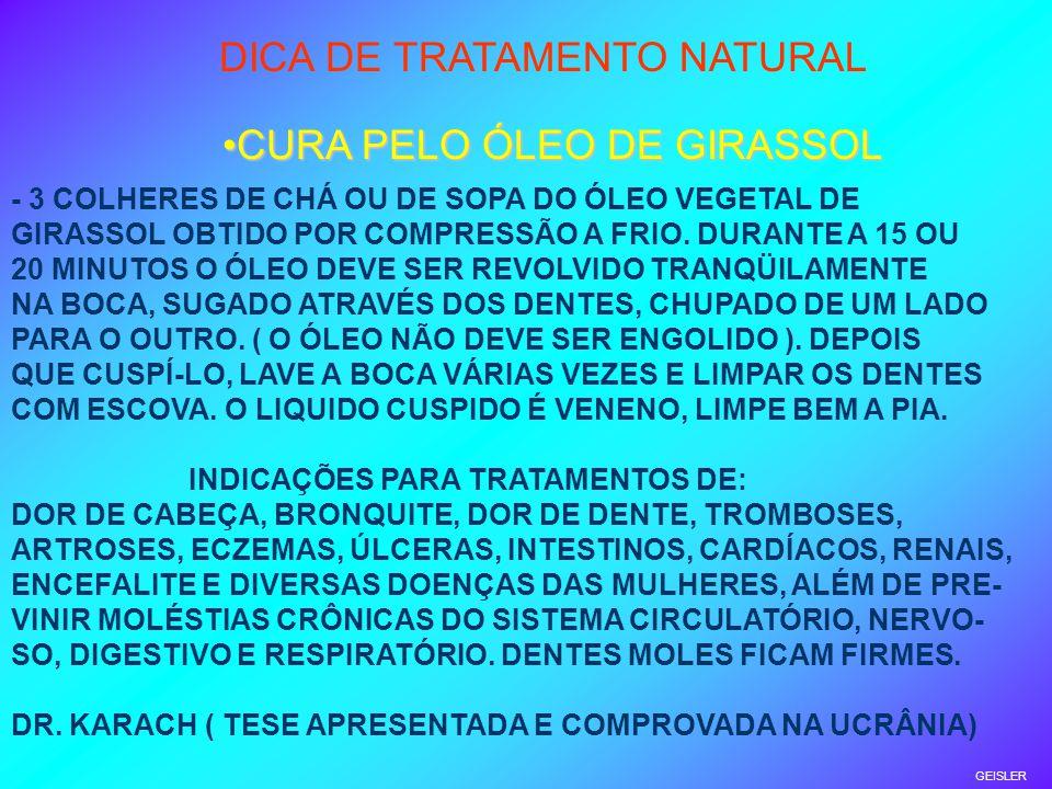 DICA DE TRATAMENTO NATURAL