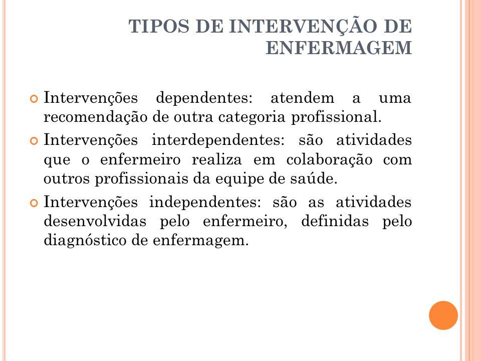 TIPOS DE INTERVENÇÃO DE ENFERMAGEM