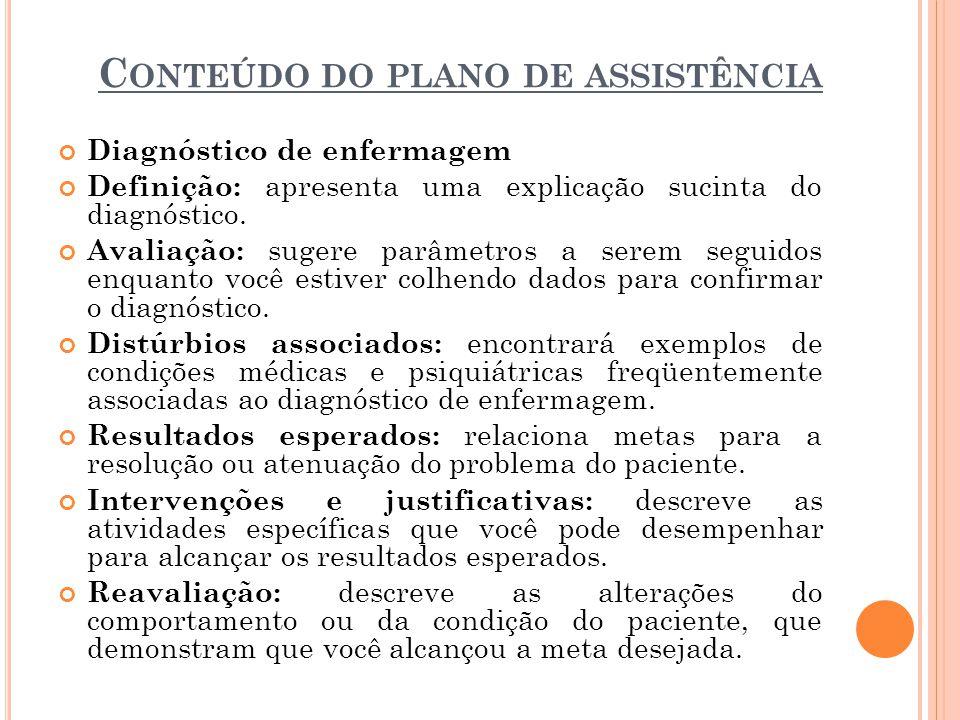 Conteúdo do plano de assistência
