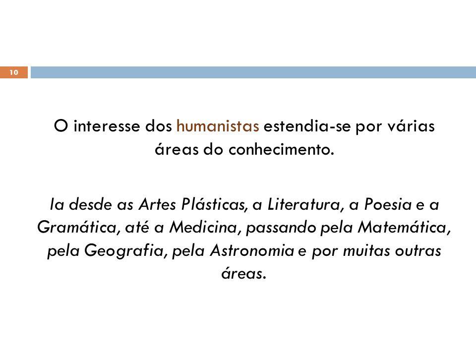 O interesse dos humanistas estendia-se por várias áreas do conhecimento.