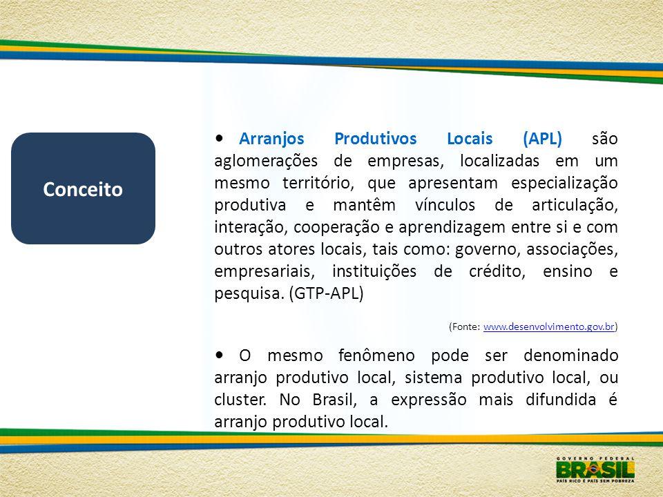 Arranjos Produtivos Locais (APL) são aglomerações de empresas, localizadas em um mesmo território, que apresentam especialização produtiva e mantêm vínculos de articulação, interação, cooperação e aprendizagem entre si e com outros atores locais, tais como: governo, associações, empresariais, instituições de crédito, ensino e pesquisa. (GTP-APL)