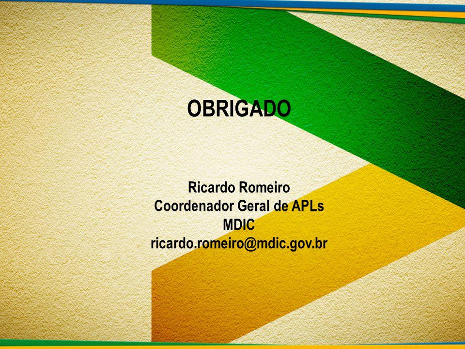 OBRIGADO Ricardo Romeiro Coordenador Geral de APLs MDIC ricardo
