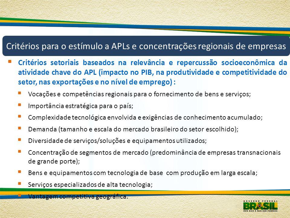 Critérios para o estímulo a APLs e concentrações regionais de empresas
