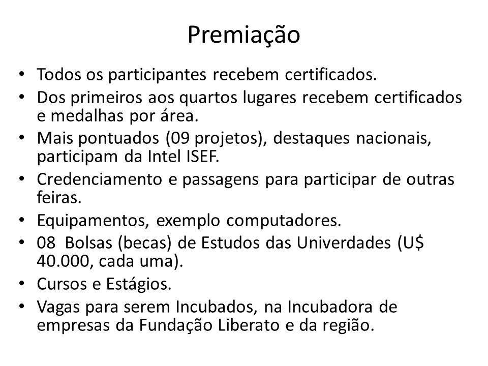 Premiação Todos os participantes recebem certificados.