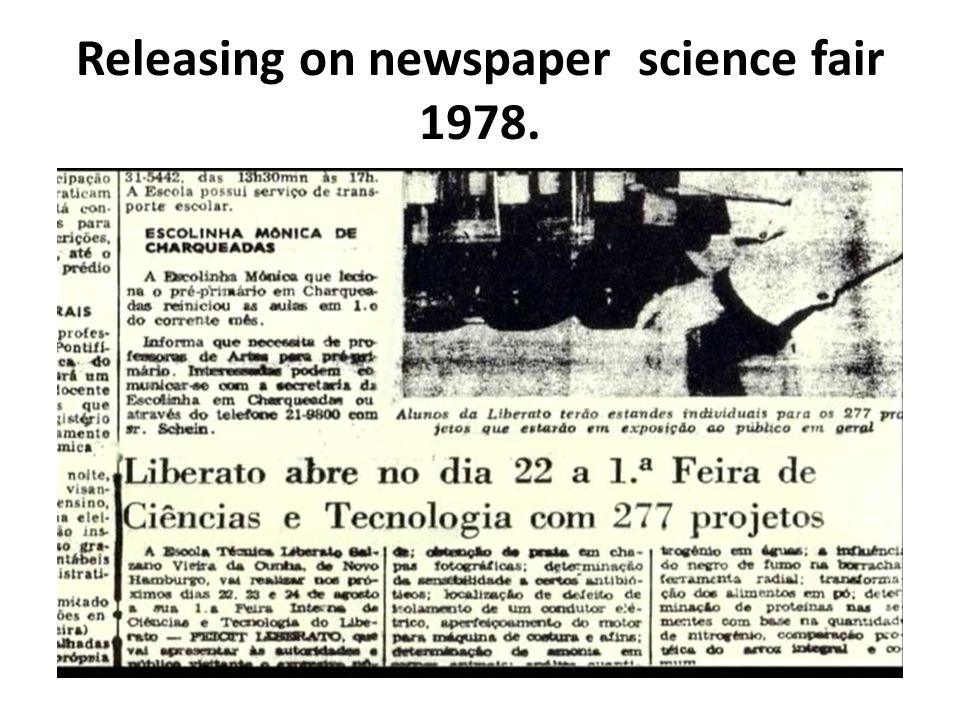 Releasing on newspaper science fair 1978.