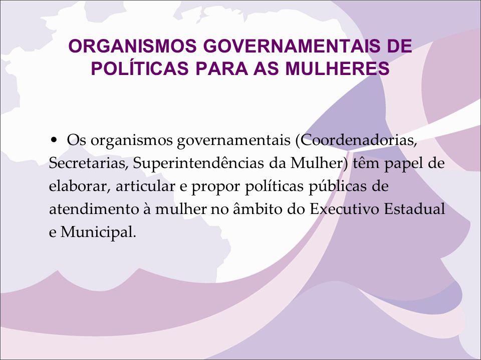 ORGANISMOS GOVERNAMENTAIS DE POLÍTICAS PARA AS MULHERES