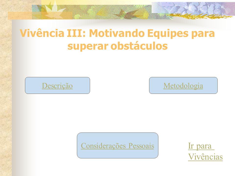 Vivência III: Motivando Equipes para superar obstáculos