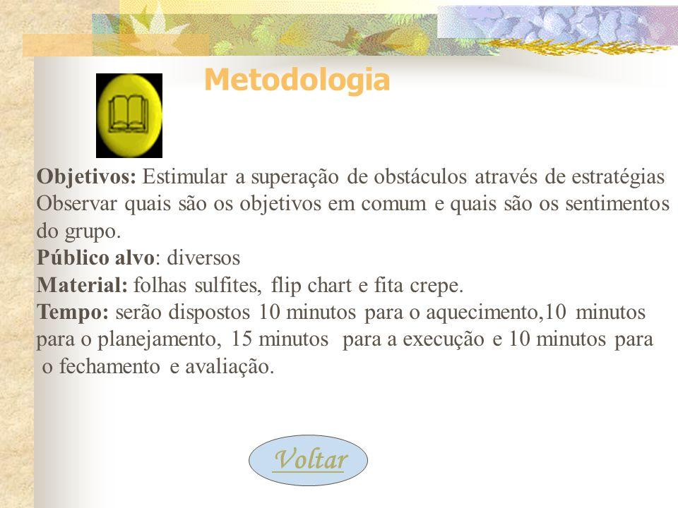 Metodologia Objetivos: Estimular a superação de obstáculos através de estratégias.