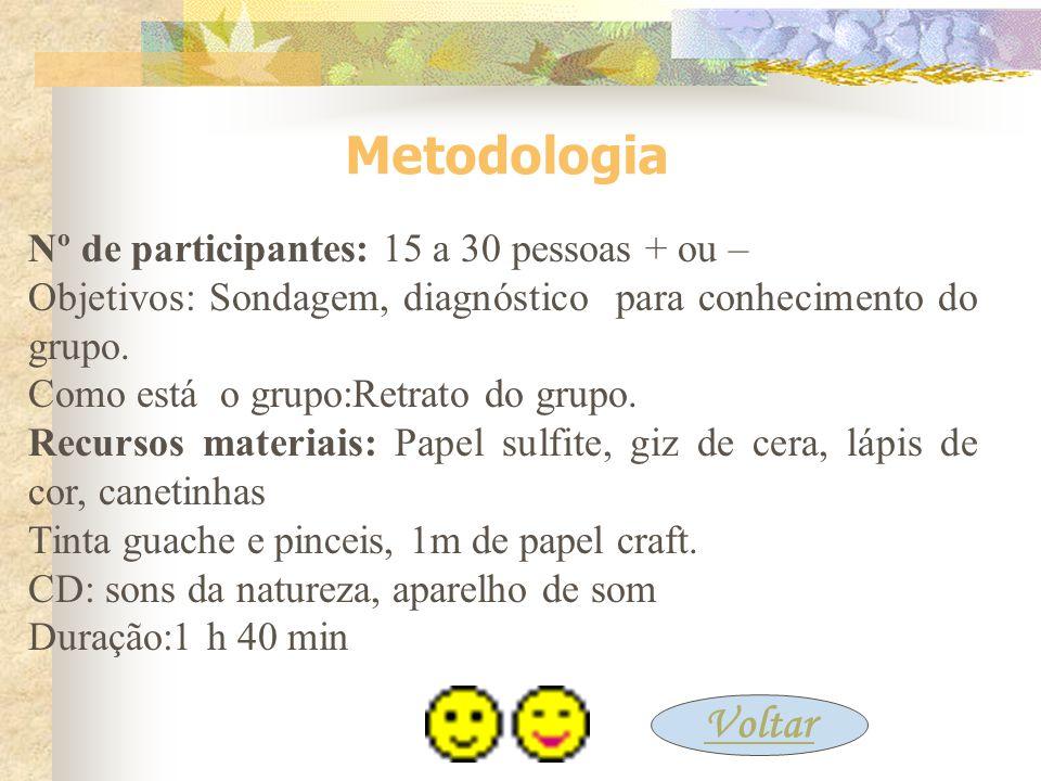 Metodologia Voltar Nº de participantes: 15 a 30 pessoas + ou –