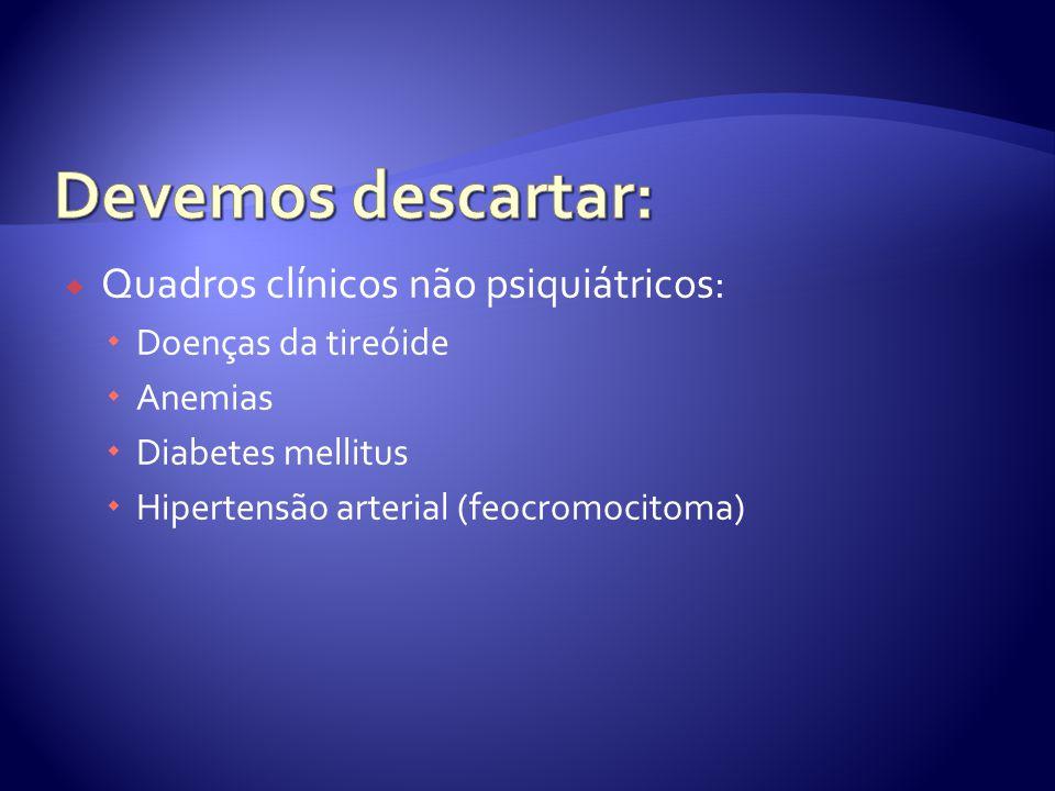 Devemos descartar: Quadros clínicos não psiquiátricos: