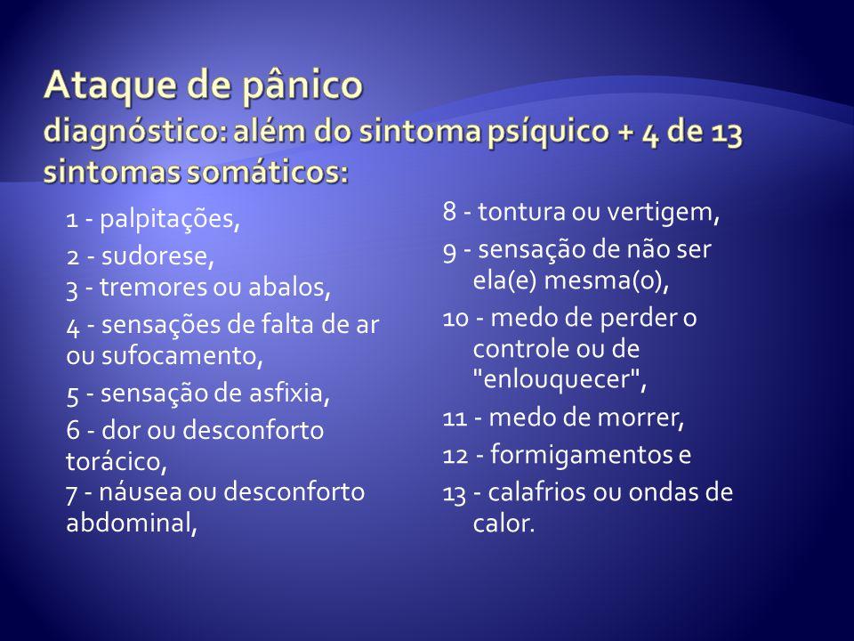 Ataque de pânico diagnóstico: além do sintoma psíquico + 4 de 13 sintomas somáticos: